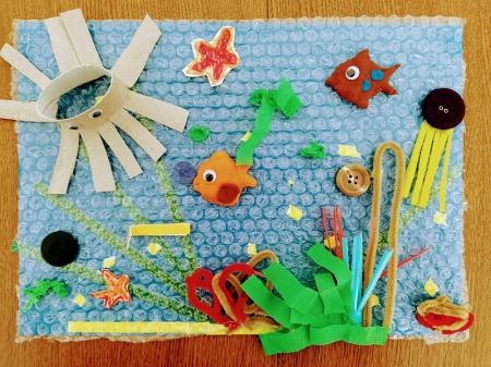 Ekologiczne prace plastyczne uczniów 0a