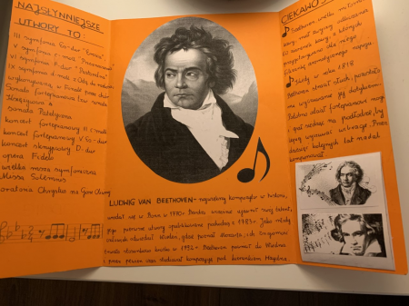 Uczniowie klas szóstych przygotowali lapbooki o Ludwigu van Beethovenie